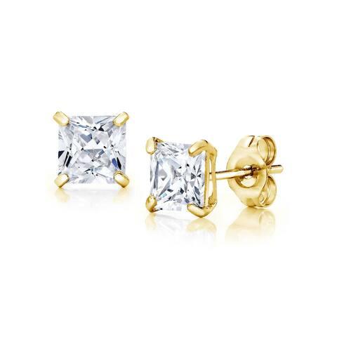 Pori Jewelers 14K Gold 5MM Princess-Cut Stud Earrings wCrystal by Swarovski
