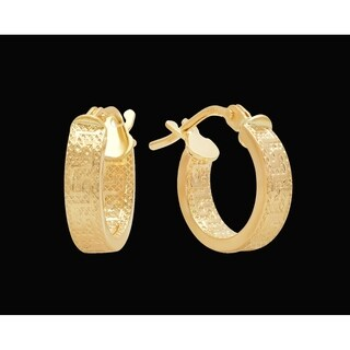 Pori Jewelers 18K Solid Gold Greek Key Design Hoop Earrings
