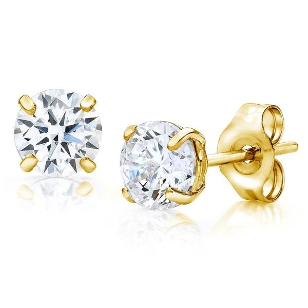 Pori Jewelers 14K Gold 4MM Round-Cut Stud Earrings wCrystal by Swarovski 1b3f3d851