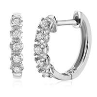 Pori Jewelers 14K Solid White Gold Prong Round CZ Huggie Earrings