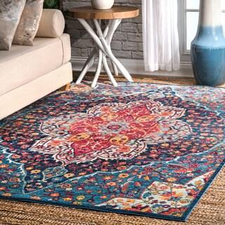 nuLOOM Vintage Chic Blossom Tiles Blue Area Rug (9' x 12')
