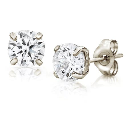 Pori Jewelers 14K Gold 5MM Round-Cut Stud Earrings wCrystal by Swarovski