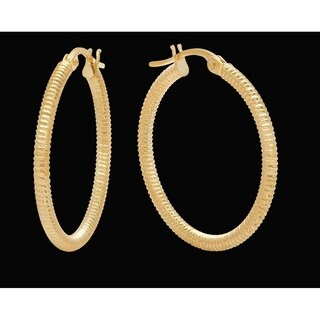 Pori Jewelers 18K Solid Gold 2x24MM Wired Hoop Earrings