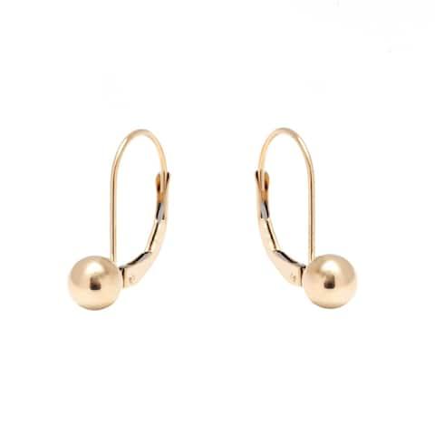 Pori Jewelers 14K GOLD 6MM BALL LEVERBACK Earrings