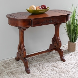 International Caravan Windsor Carved Writing Table with Drawers