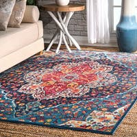 nuLOOM Vintage Chic Blossom Tiles Blue Area Rug (4' x 6') - 4' x 6'