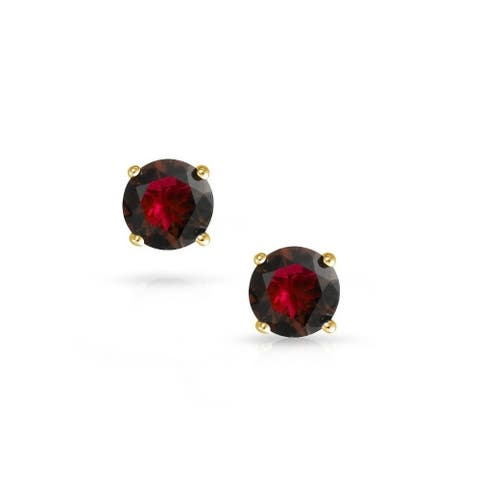 Pori Jewelers 14K Solid Gold Birthstone Round-cut Stud Earrings wCrystal by Swarovski