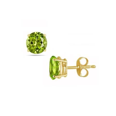 Pori Jewelers 14K Gold 2.0cttw Round Genuine Peridot Gemstone Stud Earrings