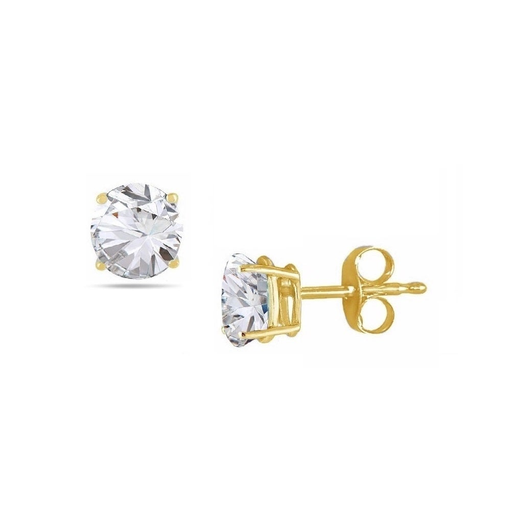 Choose Your Size Round Genuine White Topaz Solid 10K Yellow Gold Stud Earrings