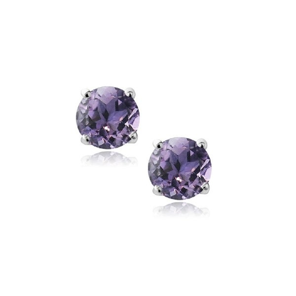 Pori Jewelers 14k Solid White Gold Birthstone Round Cut Stud Earrings Wcrystals By Swarovski