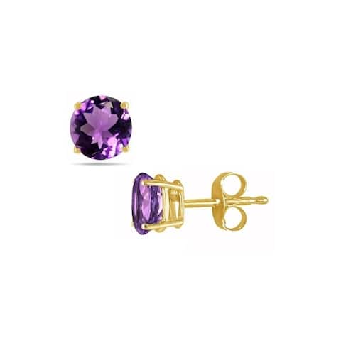 Pori Jewelers 14K Gold 2.0cttw Round Genuine Amethyst Gemstone Stud Earrings
