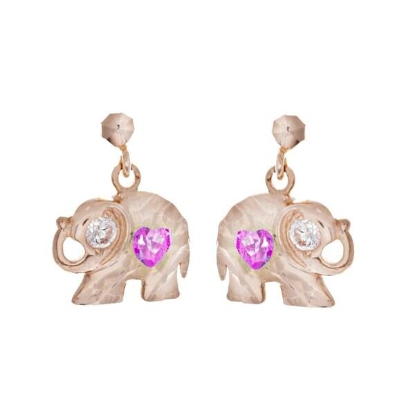 Shop pori jewelers 14k solid gold elephant pink heart cut cz stud pori jewelers 14k solid gold elephant pink heart cut cz stud earrings freerunsca Images