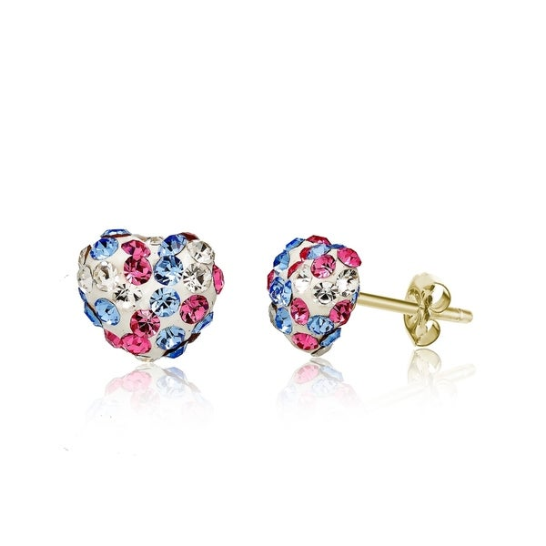 1eef12ed2 Shop Pori Jewelers 14K Solid Gold Pave Multicolor Rose, Clear Aqua Crystal  Puff Heart Earrings made wSwarovski Elements - On Sale - Free Shipping On  Orders ...