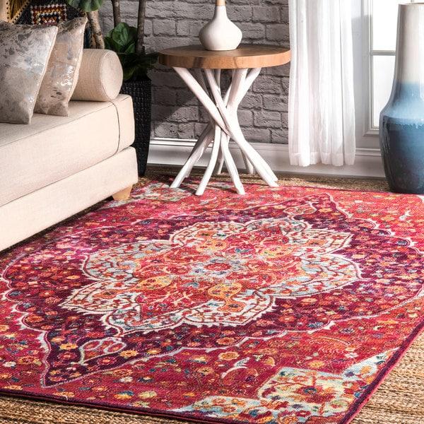 nuLOOM Vintage Chic Blossom Tiles Pink Area Rug (5\'3\'\' x 7\'7 ...