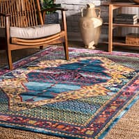 nuLOOM Rustic Persian Abstract Floral Tiles Blue Area Rug (7'10'' x 10'10')