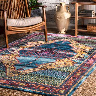 nuLOOM Blue Rustic Persian Abstract Floral Tiles Area Rug