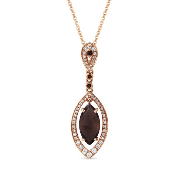 Shop iced showroom 14k rose gold marquise smoky quartz with white iced showroom 14k rose gold marquise smoky quartz with white diamond halo and brown diamond accents aloadofball Image collections