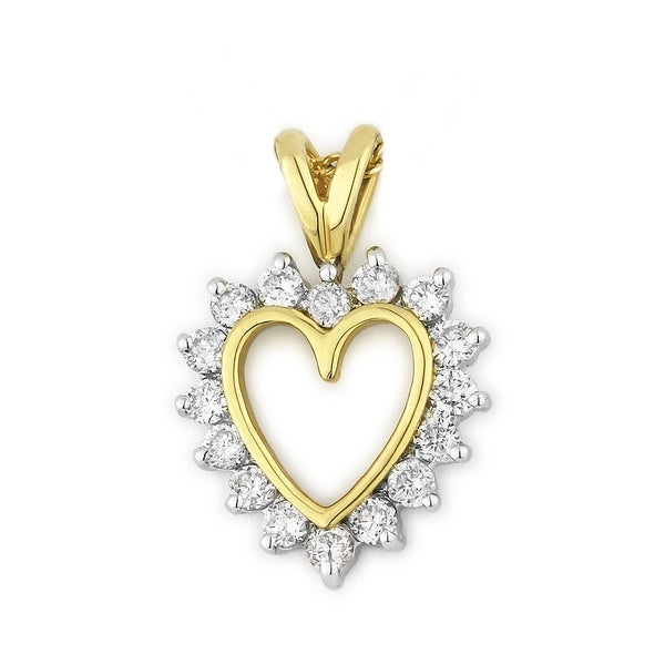 Iced showroom 14k yellow gold heart shaped pendant and necklace iced showroom 14k yellow gold heart shaped pendant and necklace white aloadofball Choice Image
