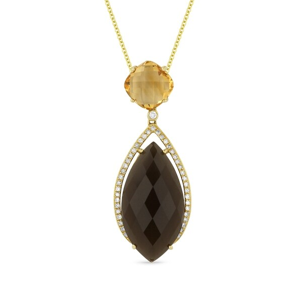 Iced showroom pear shaped smoky topaz pendant necklace and citrine iced showroom pear shaped smoky topaz pendant necklace and citrine bale with white diamond aloadofball Choice Image