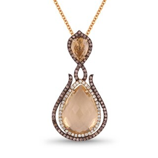 Aria Design Vintage Pear Citrines With White Diamond Halo and Brown Diamond Accents Pendant-Necklace in Yellow Gold