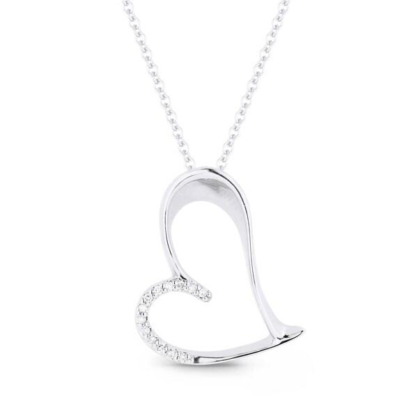 Iced showroom 14k white gold heart shaped pendant and necklace iced showroom 14k white gold heart shaped pendant and necklace aloadofball Choice Image