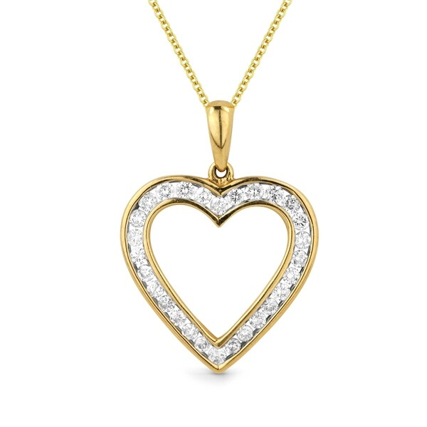 Iced showroom 14k yellow gold heart shaped pendant and necklace iced showroom 14k yellow gold heart shaped pendant and necklace white aloadofball Images