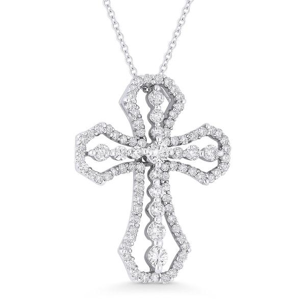 Shop iced showroom 18k white gold diamond cross pendant and necklace iced showroom 18k white gold diamond cross pendant and necklace aloadofball Gallery