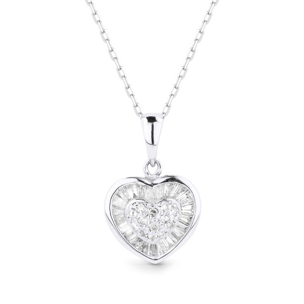 Shop iced showroom 14k white gold heart shaped diamond pendant and iced showroom 14k white gold heart shaped diamond pendant and necklace aloadofball Gallery