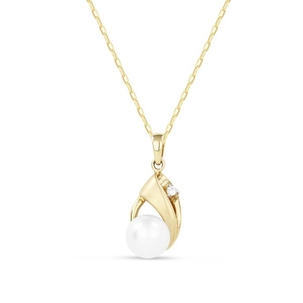 Iced showroom 14k yellow gold pear motif pearl pendant necklace with iced showroom 14k yellow gold pear motif pearl pendant necklace with white diamond mozeypictures Choice Image