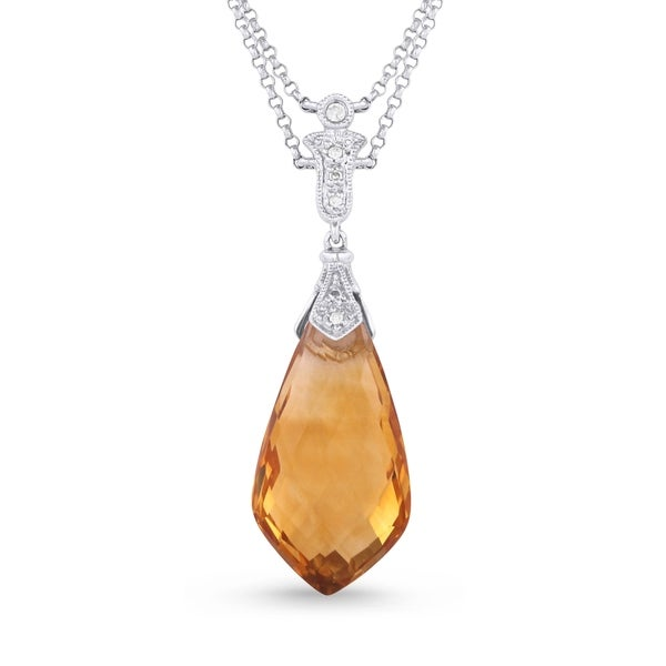Iced showroom sharp pear citrine with white diamond accented bale iced showroom sharp pear citrine with white diamond accented bale pendant necklace in white gold aloadofball Choice Image