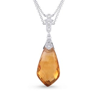 Aria Designs Sharp Pear Citrine with White Diamond Accented Bale Pendant Necklace in White Gold