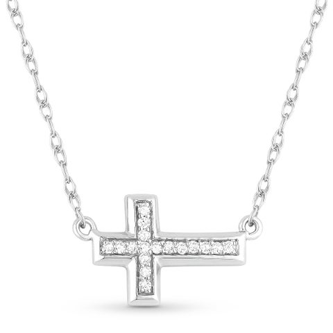 ICED SHOWROOM 14K White Gold Diamond Cross Pendant and Necklace