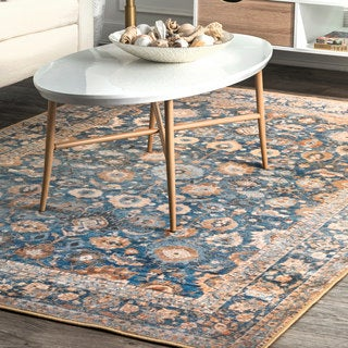 nuLOOM Traditional Vintage Fancy Floral Blue Area Rug (8'2'' x 10')