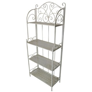 Antique Cream Foldable Outdoor and Indoor Plant Shelf and Bakers Rack