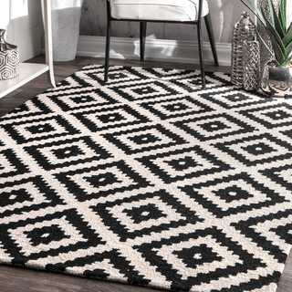 nuLOOM Handmade Abstract Wool Fancy Pixel Trellis Square Rug (8'x 8' Square) - 8' Square