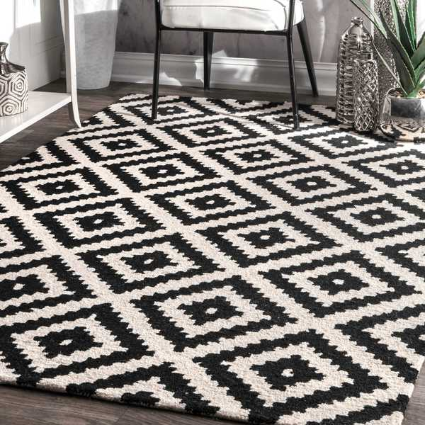 nuLOOM Handmade Abstract Wool Fancy Pixel Trellis Square Rug - 8'x 8' Square