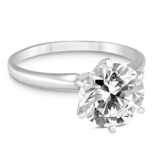 Signature Quality 1 Carat Diamond Solitaire Ring in 14K White Gold (G-H Color, SI2-SI3 Clarity)