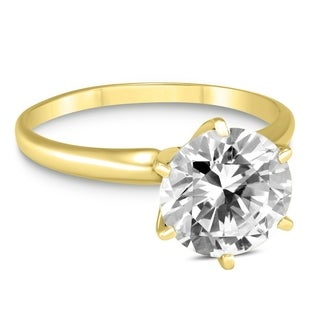 Signature Quality 1 Carat Diamond Solitaire Ring in 18K Yellow Gold (G-H Color, SI2-SI3 Clarity)