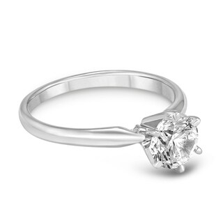 Signature Quality 3/4 Carat Diamond Solitaire Ring in 14K White Gold (H-I Color, SI2-SI3 Clarity)