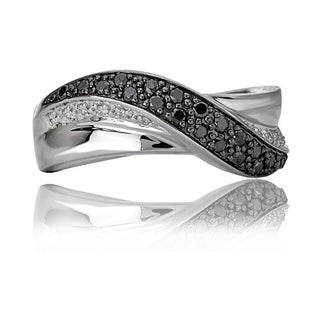 Avanti 14K White Gold 1/4 CT TW Black and White Diamond Swirl Ring