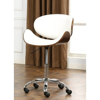 Strick & Bolton Blakey Modern Faux Leather and Wood Adjustable Swivel Office Chair