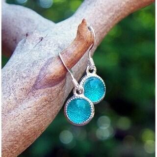 Handmade Recycled Reclaimed Vintage Aquamarine Mason Jars Glass Color Dot Earrings (United States)