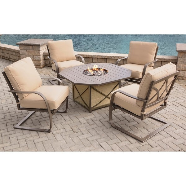 Outdoor Propane And Natural Gas Fire Pit Table With Spring Chairs - Patio fire pit table natural gas