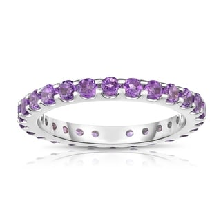 Noray Designs 14K White Gold Amethyst Eternity Ring 1 35 Cttw Purple