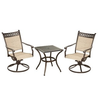 Brown Sling Outdoor Indoor Swivel Rockers and 19 inch Square Table
