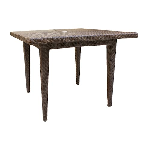 Panama Jack Oasis Brown Woven Fiber Square Table with Glass