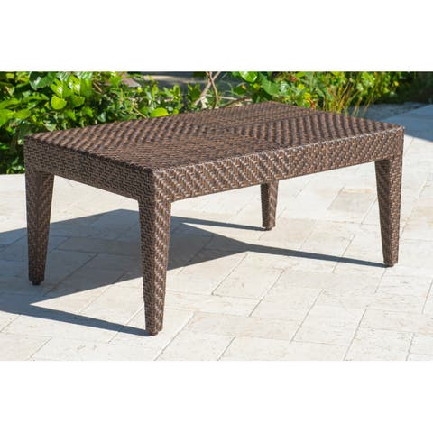 Panama Jack Oasis Brown Synthetic/Glass Coffee Table