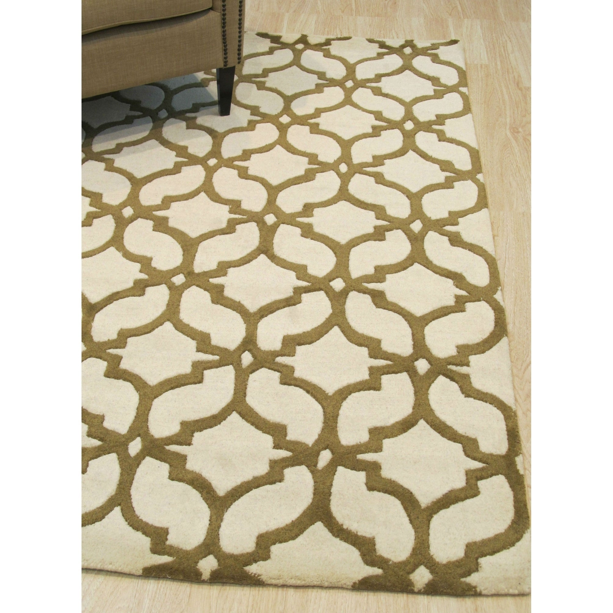 Hand-tufted Wool Ivory/Brown Traditional Trellis Moroccan