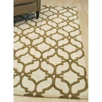 EORC Ivory/Brown Wool Hand-tufted Trellis Moroccan Area Rug - 5' x 7'