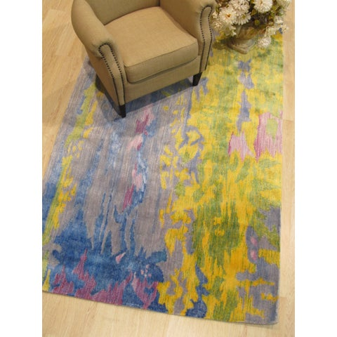 Hand-tufted Bamboo Silk Multicolored Contemporary Abstract Picaso Rug - Multi - 5' x 8'